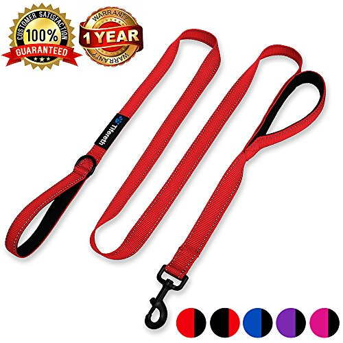 Tifereth Heavy Duty Dog Leash Reflective Nylon Dog Leash 2 Handles Padded Traffic Handle for Extra Control 6 ft Long Perfect for Medium to Large Dogs (Red)