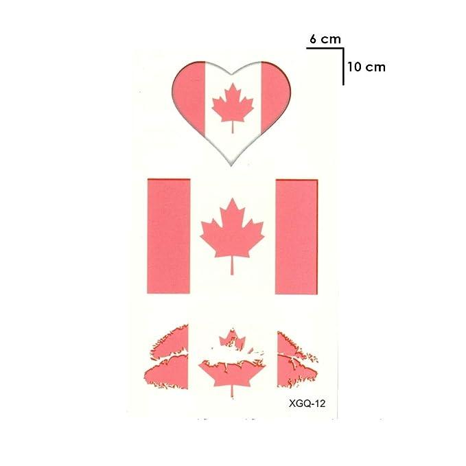 Justfox – Tatuaje temporal, Canadá, banderas, corazón, beso ...