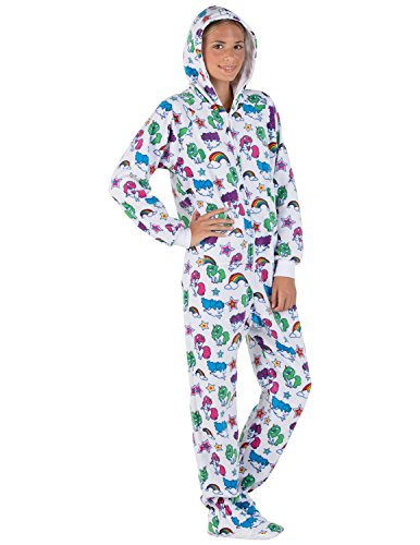 Footed Pajamas Family Matching Unicorns Kids Hoodie Fleece Onesie - Small White