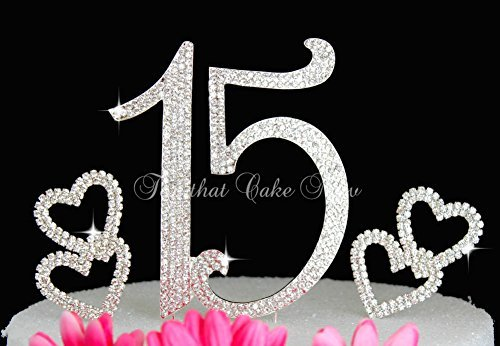 Deluxe Quinceanera 15 Numbers cake topper in rhinestones crystal Hearts cake pick Set