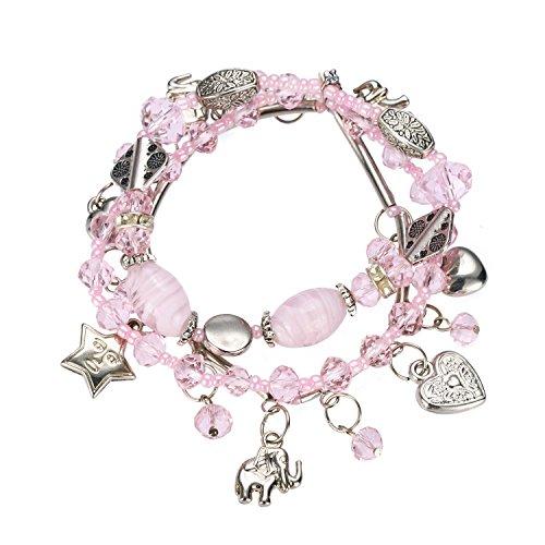 HUAN XUN Girls Beads Heart Charm Bangle Bracelet Stretchable Chain Bracelets