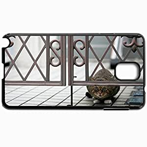 Customized Cellphone Case Back Cover For Samsung Galaxy Note 3, Protective Hardshell Case Personalized Cat Peep Hide Sit Black
