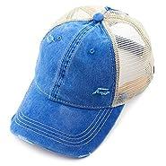 C.C Exclusives Hatsandscarf Washed Distressed Cotton Denim Ponytail Hat Adjustable Baseball Cap (BT-13)