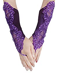 Purple Embroidered With Sequin Bridal Gloves