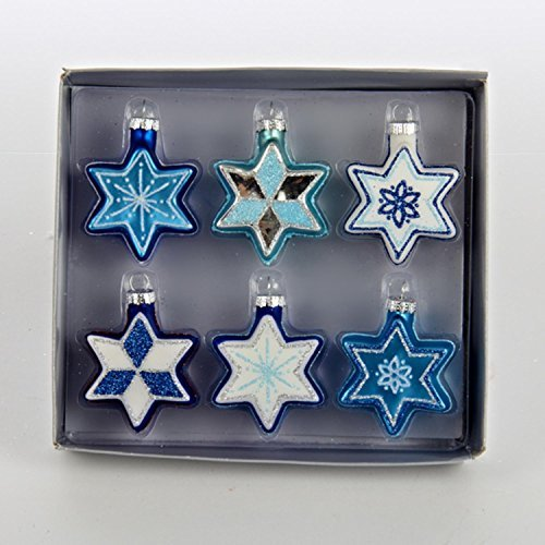 Set of 6 Glittered Blue and White Star of David Glass Hanukkah Holiday Ornaments 2.25
