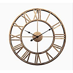 Liinmall Large 3D Retro 20 Wall Clocks Battery Operated Roman Numerals Home Decor Metal Clock