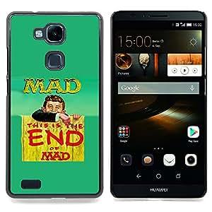 """Qstar Arte & diseño plástico duro Fundas Cover Cubre Hard Case Cover para HUAWEI Ascend MATE 7 (Cita Mad Crazy Life Mundial lema divertido"""")"""