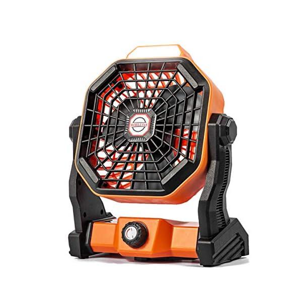 512Y4oW i6L Camping Ventilator Lureshine Tischventilator mit Led Licht Batterie USB Ventilator Leise Turbo ventilator Campinglüfter…
