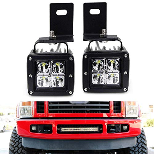 iJDMTOY LED Pod Light Fog Lamp Kit For 2008-10 Ford F250 F350 F450, Includes (2) 20W High Power CREE LED Cubes, Foglight Location Mounting Brackets & On/Off Switch Wiring Kit