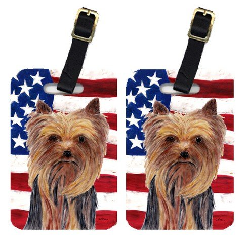 UPC 615872932559, Carolines Treasures SC9013BT Pair Of USA American Flag With Yorkie Luggage Tags