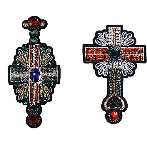 1set Handmade Rhinestone Beaded Cross Patches Beading Fringe Eye Applique Sew on Patch for Clothes Shoes Bags DIY Apparel TH1015 (1015 Cross Mix)