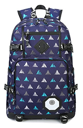 5 ALL Junge Mädchen Herren Damen Canvas Schulrucksack Reisetasche Laptoptasche Daypack mit schicker Muster für Outdoor Freizeit Universität Dreieck blau E8RYMVe