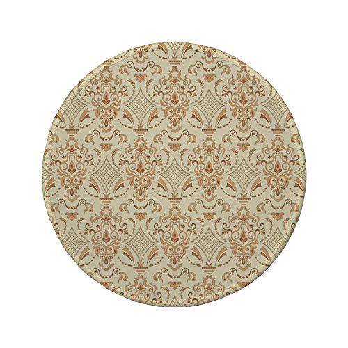 Non-Slip Rubber Round Mouse Pad,Beige,Victorian Patterns in Retro Style Antique Design Classical Old World Motifs Artwork Decorative,Sand Beige,7.87