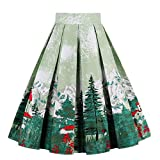 Girstunm Women's Pleated Vintage Skirt Floral Print A-line Midi Skirts with Pockets Christmas-Tree L