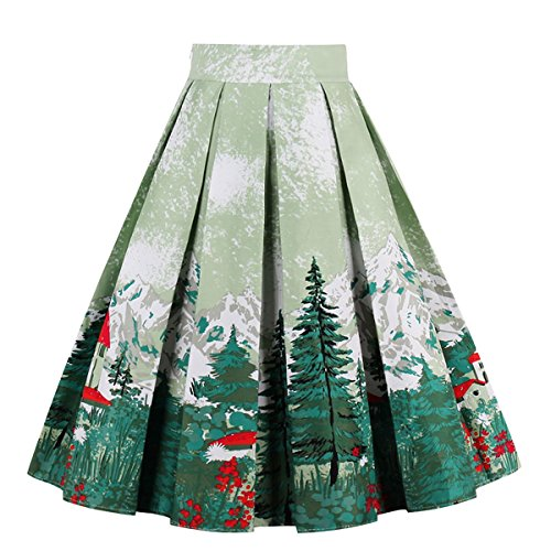 Girstunm Women's Pleated Vintage Skirt Floral Print A-line Midi Skirts with Pockets Christmas-Tree -