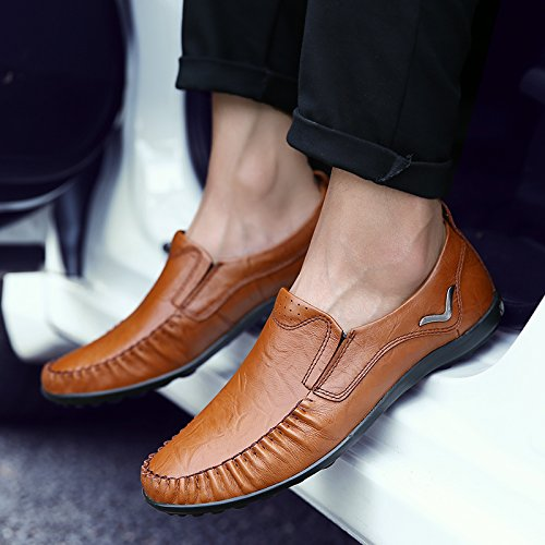 Salabobo QYY-8088 New Mens Casual Leather Leisure Slip On Comfy Smart Driving Shoes Brown E7zgwTSh0