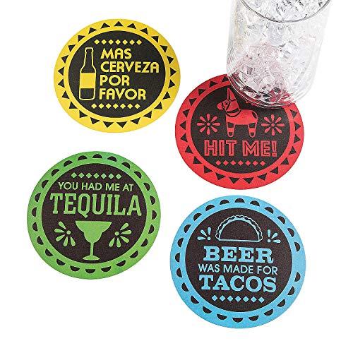 Fun Express - Fiesta Paper Coasters for Cinco de Mayo - Party Supplies - Serveware & Barware - Coasters - Cinco de Mayo - 12 ()