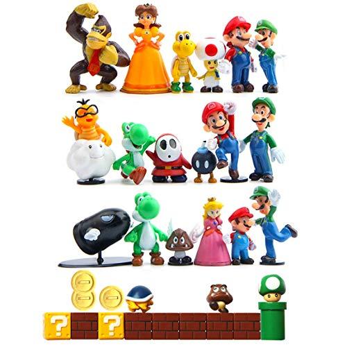 HXDZFX 32 PCS Super Mario Action Figures,Super Mario Bros Peach Princess,Daisy Princess,Turtle,Mushroom,Orangutan,Coin,Brick,Perfect for Onaments Decoration collectionism ()