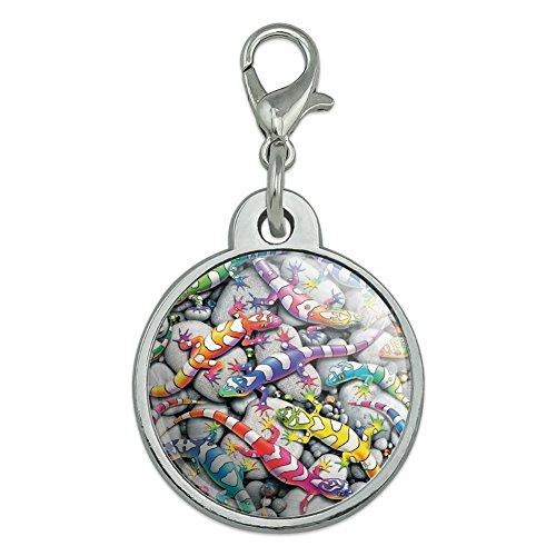 - Graphics and More Rainbow Colorful Geckos Lizards Chrome Plated Metal Pet Dog Cat ID Tag - Small