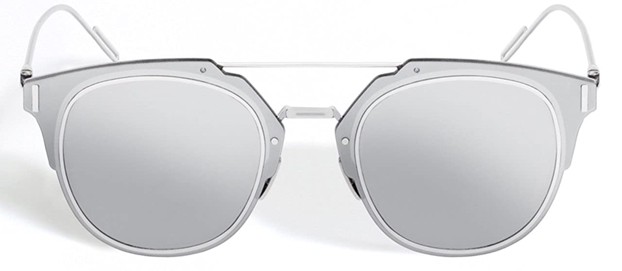 725ea28cfa Amazon.com  Christian Dior Composit 1.0 Silver Frame Mirrored Lenses Round  62 mm Sunglasses  Clothing