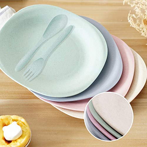 Saike 7.3\'\' 4Pack Wheat Straw Plates Set, Unbreakable Dishwasher and Microwave Safe Plates, Wheat Plates with Forks and Spoons
