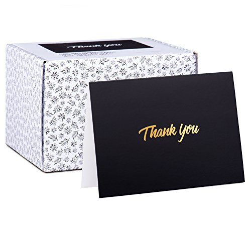 100 Thank You Cards - Black Bulk Note Cards with Gold Foil Embossed Letters - Perfect for Your Wedding, Baby Shower, Business, Graduation, Bridal Shower, Birthday, Engagement