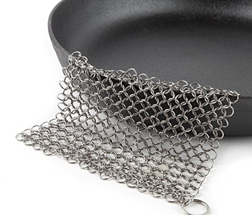 Cast Iron Cleaner Scrubber XL 8x6 Inch 316L Stainless Steel Cleaning Set For Cook Pan Scraper Grill With Two Durable Polycarbonate Scrapers + Silicone Red Chainmail Pan Handle Holder By ItayKitchen by ItayKitchen (Image #4)