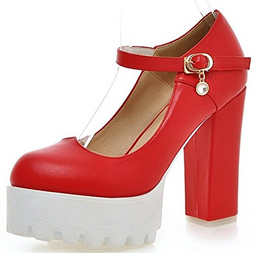 Classic Squared Heels High Pumps Ankle Platform LongFengMa Shoes Women Heel Red Strap pq1n04