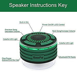 BassPal Portable Wireless Outdoor Bluetooth Speaker IPX7 Waterproof Shower FM Radio, HD Audio and Enhanced Bass, Mood LED lights, Built-in Mic for Home, Party, Pool & Beach, Good Gift (Army Green)