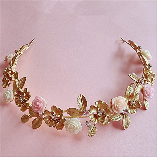 Lsinyan Gold Leaf Ceramic Flower Hair Bands Wedding Dress with Jewelry Baroque Crown Headdress Bride Water Drill Bit Flower Hair - Flower Baroque