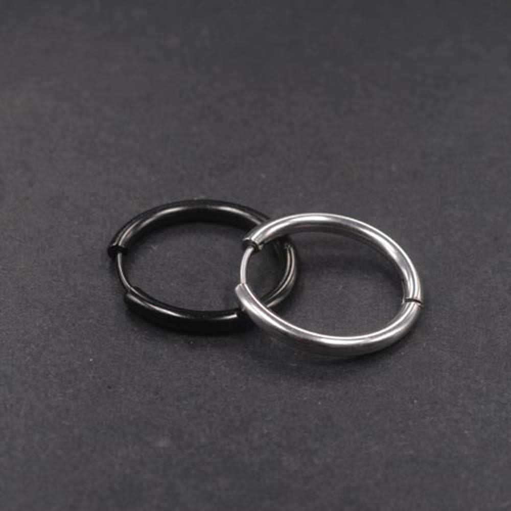 Yesallwas Lot de 2 paires de boucles doreilles cr/éoles rondes en acier inoxydable pour homme et femme Argent/é C