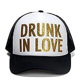 Drunk in Love Trucker Cap Gliter Pattern Print Just Drunk Print Trucker Men Women (Drunk in Love)