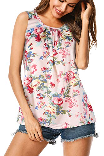 UUANG Junior's Simple Sleeveless Casual Cotton Floral Blouse Tank Top (Pink,XXL)