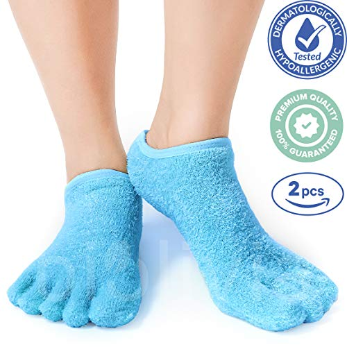 Premium Moisturizing Five Fingers Foot Gel Spa Socks | Soften Dry Feet & Hydrate Rough Skin | Biolivia Medical-Grade Gel Helps Repair Cracked Heels Corn Calluses Toenail | 5 Toes 1 Pair Unisex Blue -
