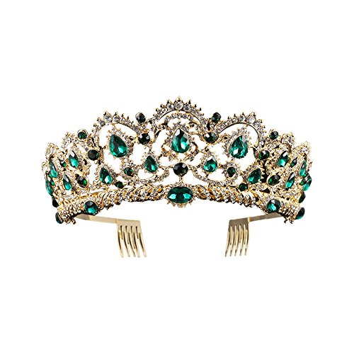 Baroque Royal Queen Gold Wedding Crown Crystal Princess Tiara Headbands for Women Bridal Party Birthday Headpieces (Green)