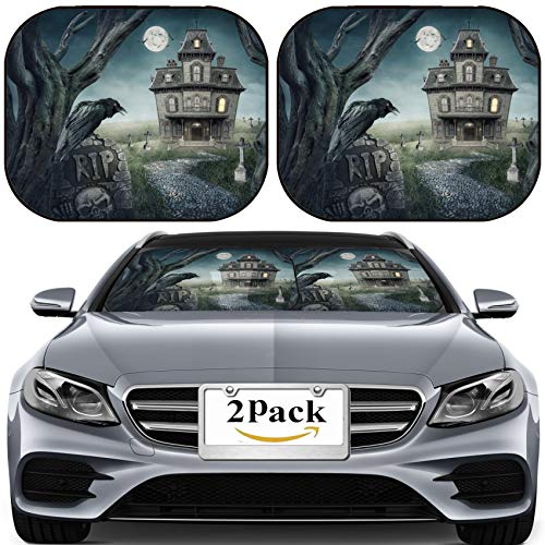 (MSD Car Sun Shade for Windshield Universal Fit 2 Pack Sunshade, Block Sun Glare, UV and Heat, Protect Car Interior, Haunted House and Spooky Graveyard Photo 19982011)