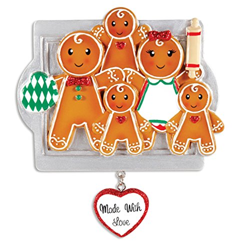 Personalized Made with Love Family of 5 Christmas Tree Ornament 2019 - Parent Child Gingerbread Cookie Roller Pin Tray Glitter Heart Sweet Tradition Winter Activity Gift Year - Free Customization