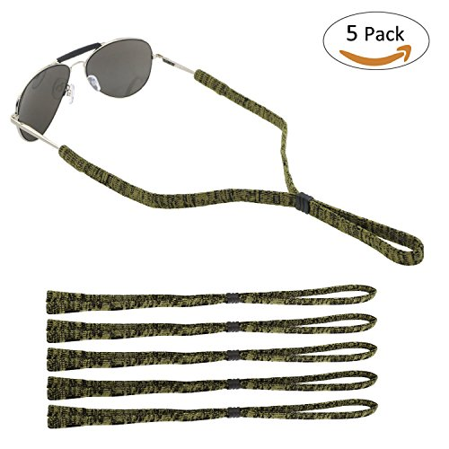 ONME Adjustable Eyewear Retainer, Universal Fit Rope Eyewear Retainer, Sport Unisex Sunglass Retainer Holder Strap, Set of 5 (Yellow) - Eyewear Retention Strap