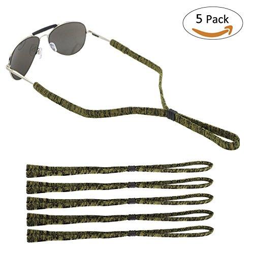 ONME Adjustable Eyewear Retainer, Universal Fit Rope Eyewear Retainer, Sport Unisex Sunglass Retainer Holder Strap, Set of 5 (Yellow) - Brands Sunglass 5 Top
