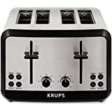 KRUPS KH3140 SAVOY Brushed Stainless Steel Toaster with Bagel Function and Wide Slots, 4-Slice, Silver
