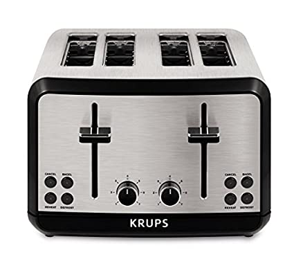 KRUPS KH3140 SAVOY Brushed Stainless Steel Toaster with Bagel Function and Wide Slots 4-  sc 1 st  Amazon.com & Amazon.com: KRUPS KH3140 SAVOY Brushed Stainless Steel Toaster with ...