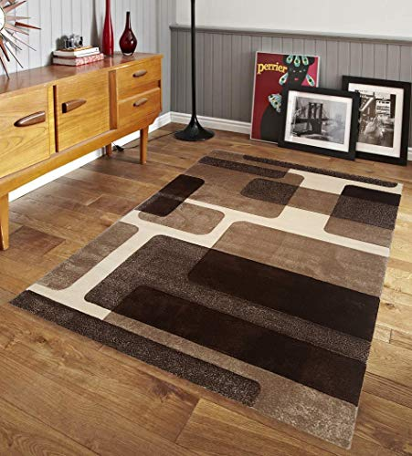 Renzo Collection Easy Clean Stain and Fade Resistant Luxury Brown Area Rug for Bedroom Kitchen Dining Living Room, Modern Geometric Lines Space Design with Jute Backing (Size 5' x 7' Feet) (Color Brown Scheme Living Room)