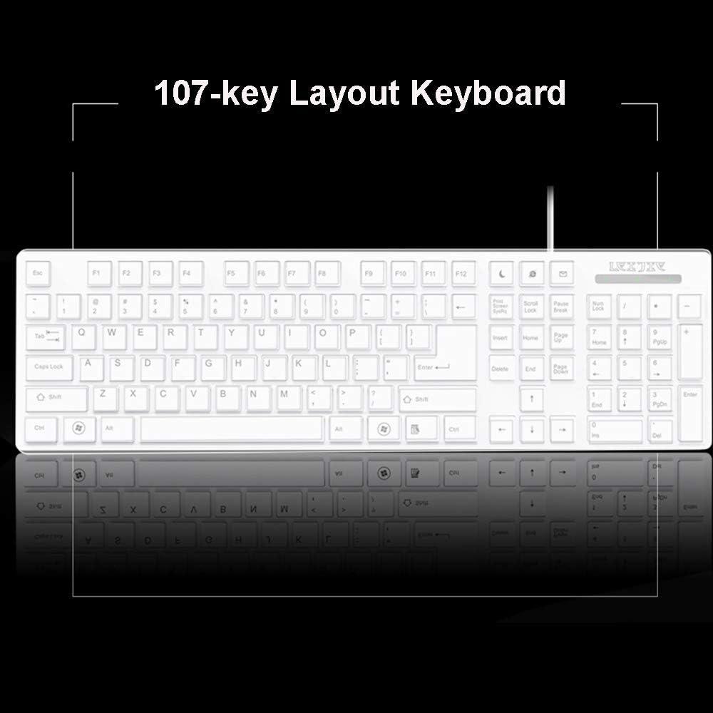 Waterproof Mute Wired USB Ergonomic Multimedia Office Keyboard Support Windows 10//8 // Vista//XP Color : Black Guanwen Gaming Mechanical Feeling Keyboard Linux Mac