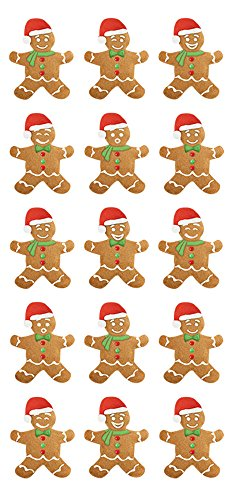 Paper House Productions STP-0046E Puffy Sticker, Gingerbread (3-Pack)