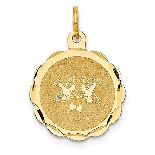 14k Yellow Gold Love Birds Disc Charm or Pendant, 16mm