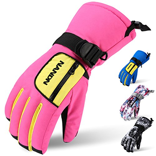 Ski Gloves, Acokac Waterproof Breathable Winter Warm Gloves with Waterproof Membrane Insert and Zipper Pocket for Women Men Kids Boys Girls, Perfect for Snow Skiing Snowboard Snowmobile(Pink Yellow)