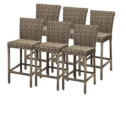 TKC Cape Cod Outdoor Wicker Bar Stools in Vintage Stone (Set of 6)