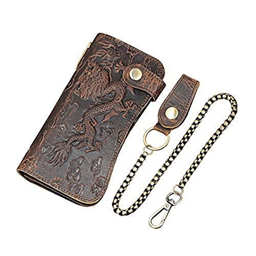 Price comparison product image Men's Genuine Leather Long Wallet Chain Wallet Card holder Wallet with Coin Pocket (Dragon)