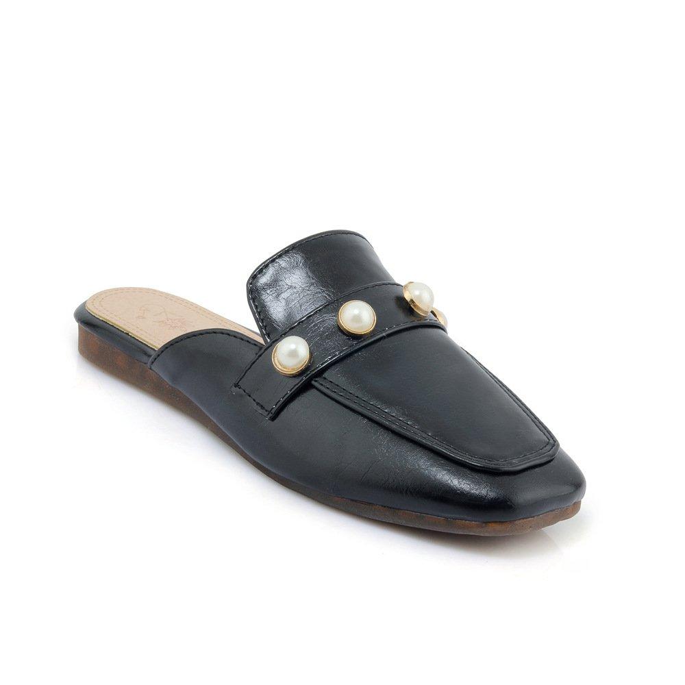 Unbekannt Sandalen Damen Vintage Quadratischen Kopf Flach Groß Flip Flop Schwarz 32