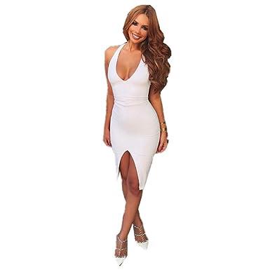 ZYKJLa Mujer es Blanco con Cuello en V Vestido, Falda Larga ...
